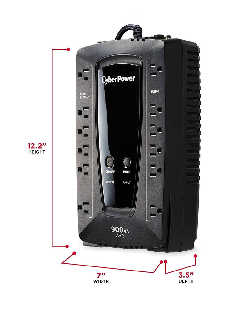 CyberPower AVR Series AVRG900U 900VA 480W Desktop UPS with AVR and USB (AVRG900U)
