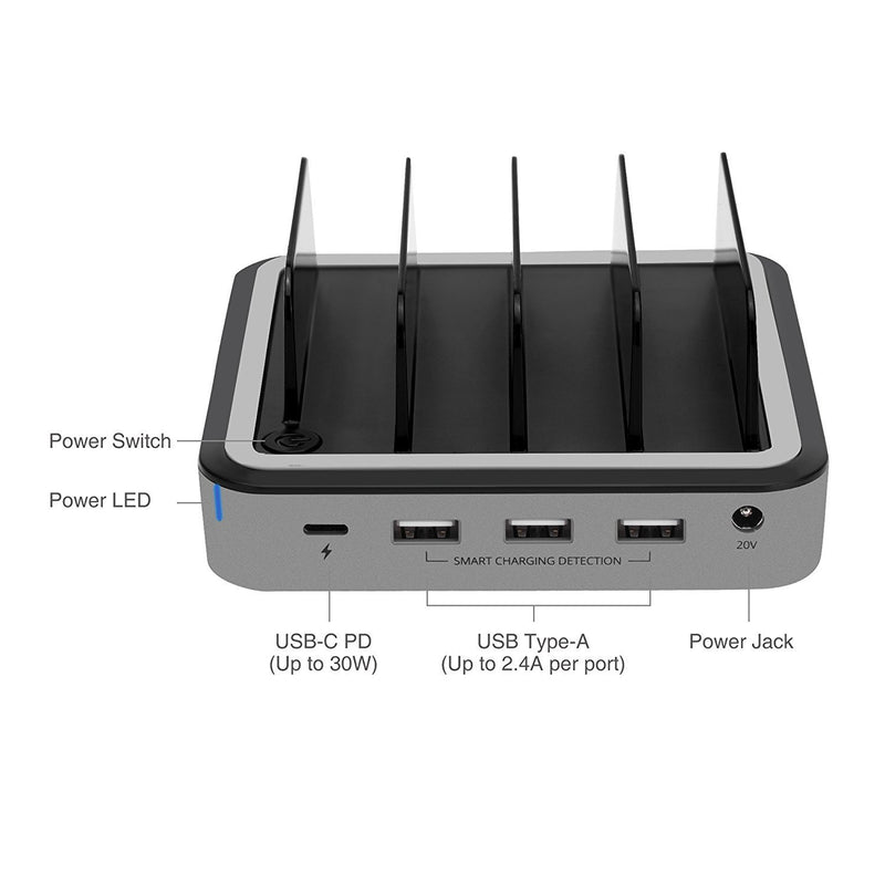 SIIG 48W 4-Port USB with Type-C PD Laptop Charging Station (AC-PW1E12-S1)