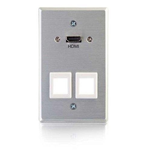Hdmi&Reg; Pass Through Single Gang Wall Plate With Two Keystones - Aluminum
