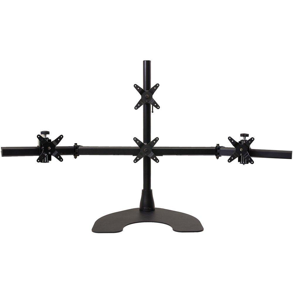 Ergotech 1 x 3 Quad Desk Stand with 28-Inch Pole - Black (100-D28-B13)