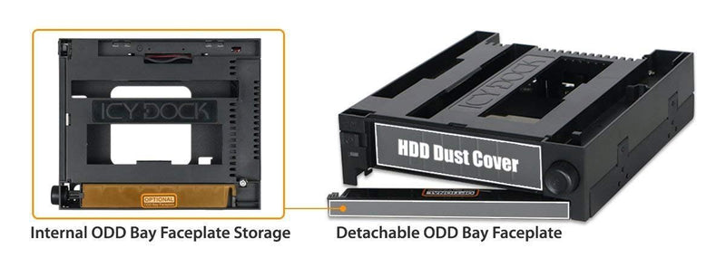 Icy Dock Duoswap Mb971spo-B Tray-Less 3.5 Mobile Rack & Oddbay (MB971SPO-B)