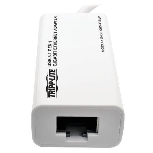 Tripp Lite USB-C to Gigabit Ethernet NIC Network Adapter 10/100/1000 Mbps White (U436-06N-GBW)