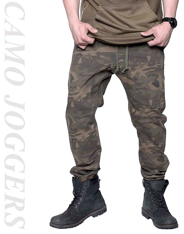 camo camoflauge drop crotch cotton twill joggers pants