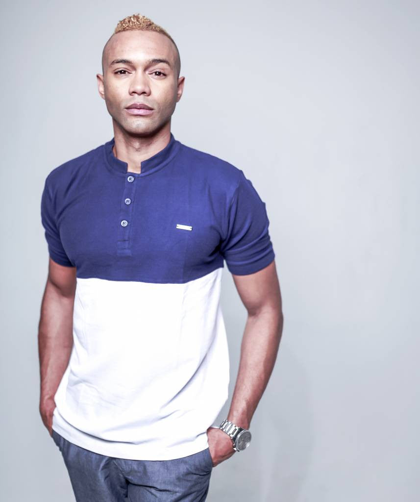 bria company navy blue white colorblock henley polo