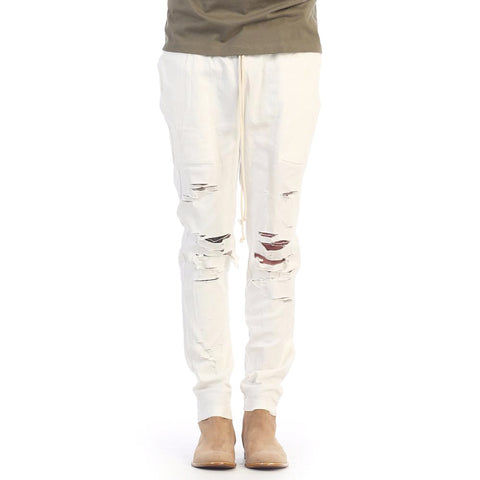 eptm off white ivory thrasher distressed pants drawstring skater