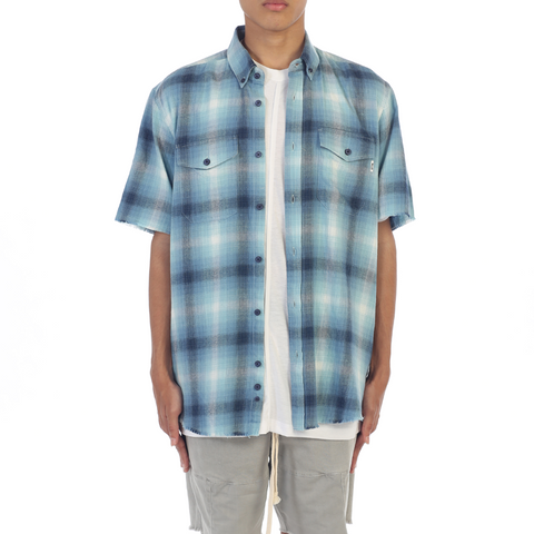eptm blue flannel cotton short sleeve side zip shirt