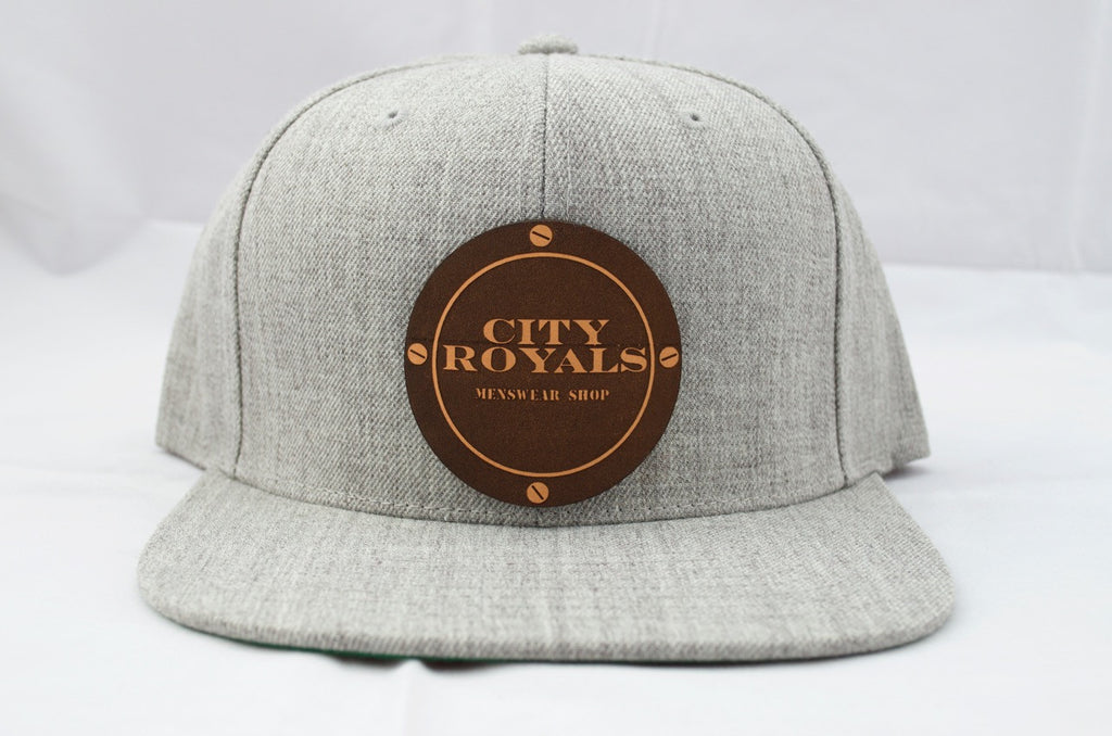 City Royals Grey Leather Cowhide Snapback Hat Cap