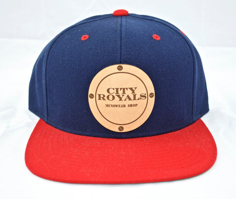 City Royals Red Blue Leather Cowhide Snapback Hat Cap