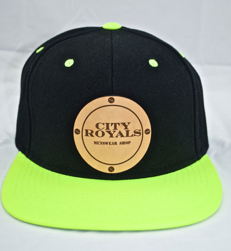 City Royals Black Neon Leather Cowhide Snapback Hat Cap