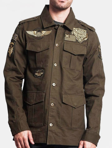 Military army camp air force button down shirt jacket
