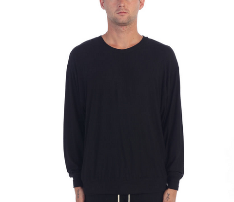 eptm feather lite crewneck long sleeve sweater top black
