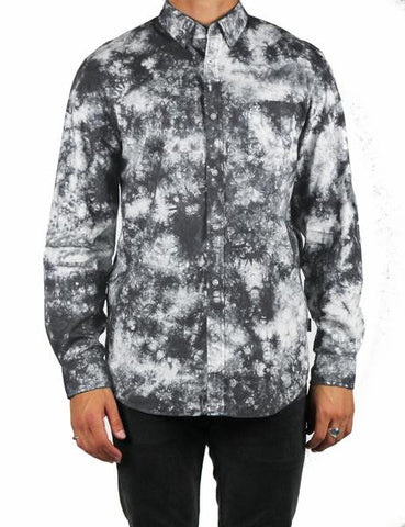 bleach bleached wash button down long sleeve shirt