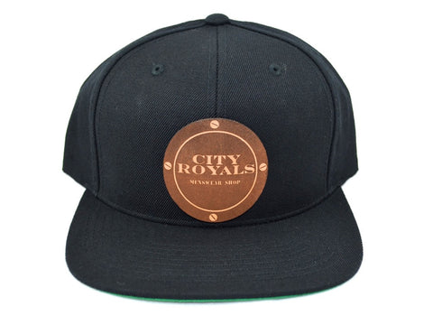 City Royals Black Leather Cowhide Snapback Hat Cap
