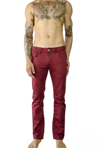 hybrid sweat pants sweatpants whisker stretch denim jeans relaxed fit red burgundy merlot wine maroon