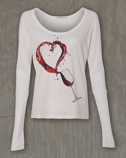 """Wine Love Splash"" Graphic Scoopneck Long Sleeve Tee"