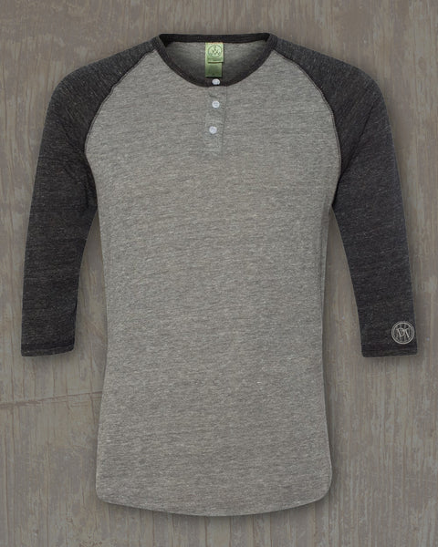 3/4 Sleeve Raglan Henley Tee with Small DT Embellishment