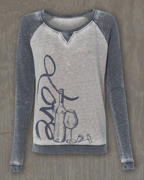 """Love Script"" Graphic Zen Fleece Raglan Crewneck Sweatshirt"