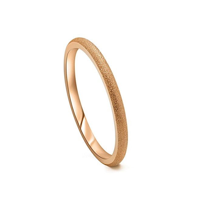 Tungsten Wedding Band Ring Comfort Fit Sandblasted Rose Gold Plated Domed  Polished 2mm