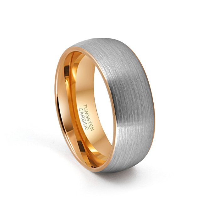 tungsten wedding band ring 8mm for men women comfort fit rose gold plated domed brushed - Wedding Band Ring
