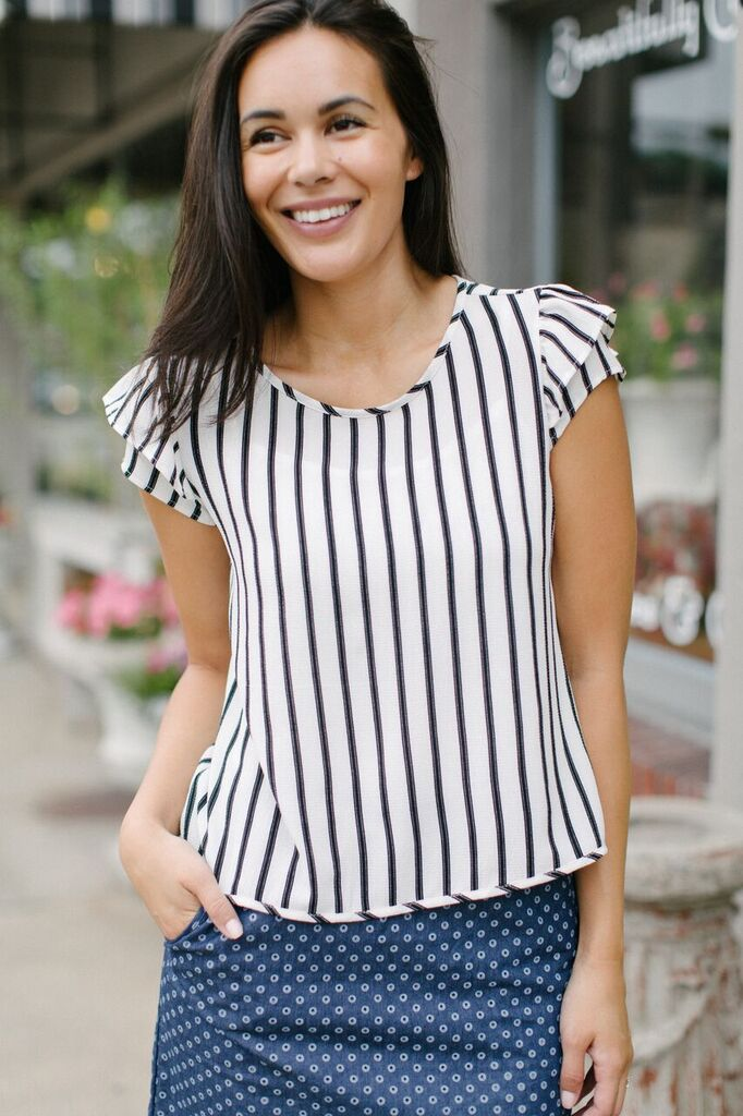 KOKOON Cropped Paulette Short Sleeve Blouse Striped