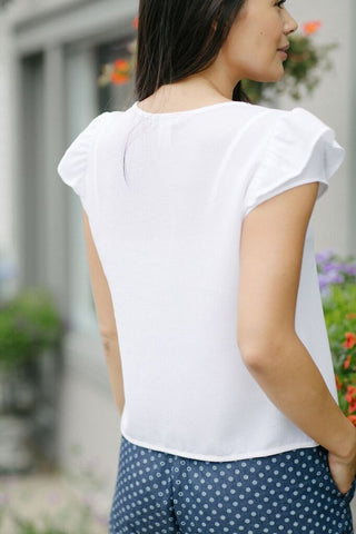 KOKOON Cropped Paulette Short Sleeve Blouse Back