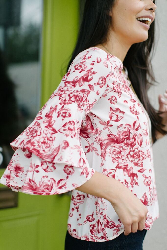 KOKOON Double Dutch Blouse in Terrafloral Print with Ruffle Sleeve