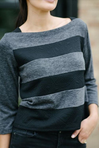 KOKOON Block Party Sweater black and charcoal stripe