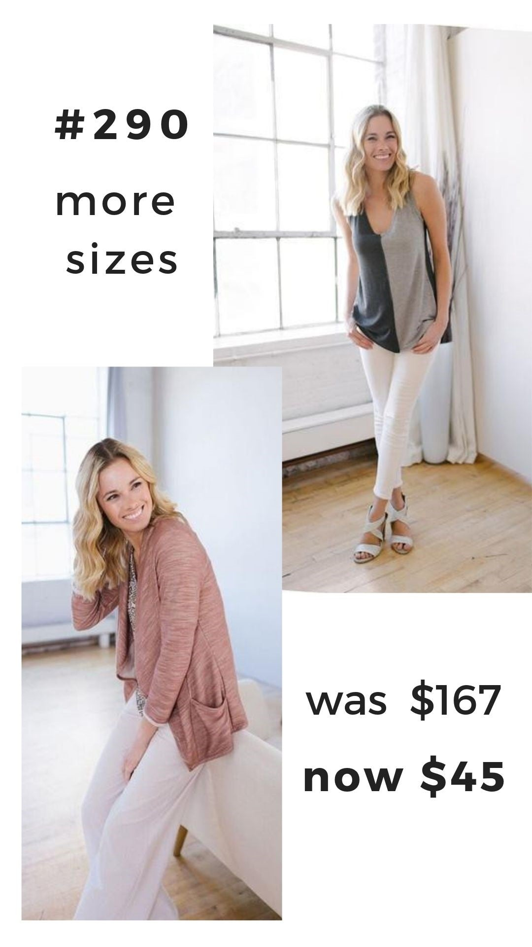KOKOON Thrift Group #290 Colorblock Tank and Blush Cardigan