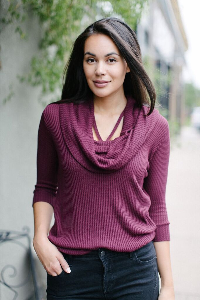 KOKOON Ain't It Waffle Cowl Neck Pullover Port