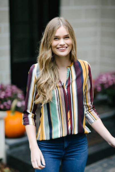 KOKOON Santa Fe Crepe Blouse in Gopher Stripe