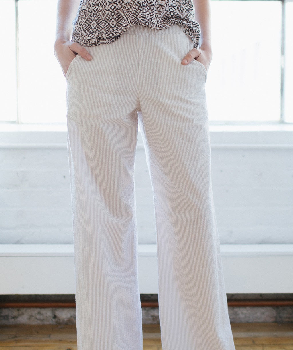 KOKOON Cropped Calhoun Wide Leg Pants in Sand Seersucker