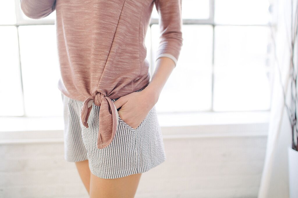 KOKOON Blush Left Of Center Sweatshirt and Navy Cotton Seersucker Calhoun Shorts Detail
