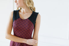 KOKOON Crosby Dress in Navy and Coral Jacquard Detail