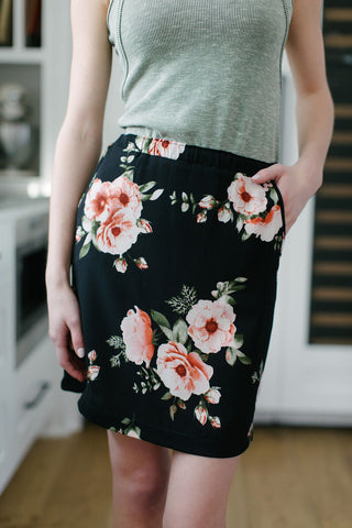 Double Vision Wrap Skirt Olive Rose