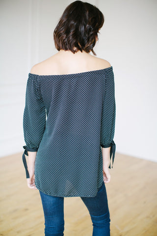 KOKOON Bowl Me Over Off Shoulder Blouse in Black and Ivory Pin Dot Back View
