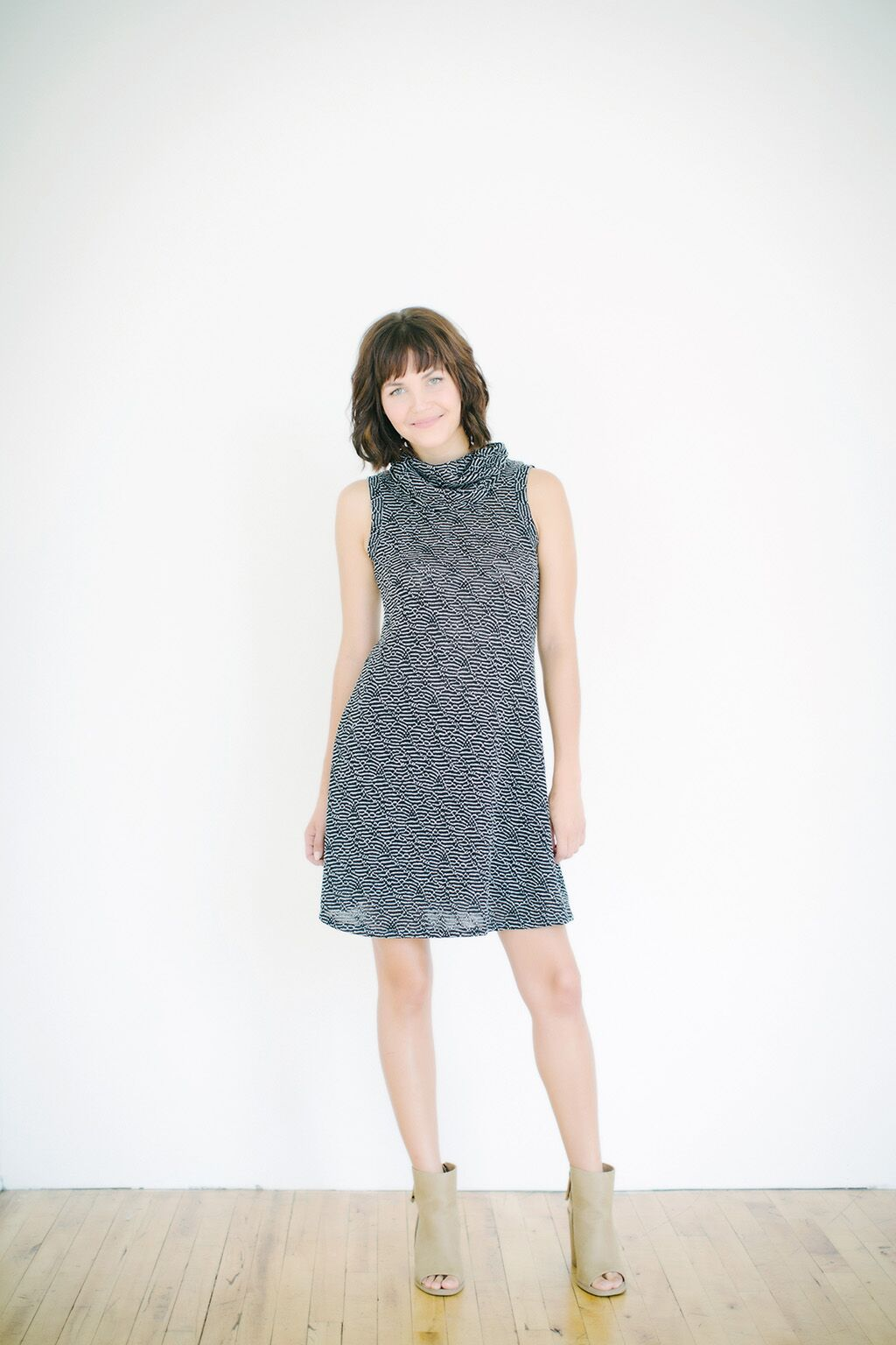 KOKOON Jojo Cowl Neck Dress in Black and White Rivulet Knit