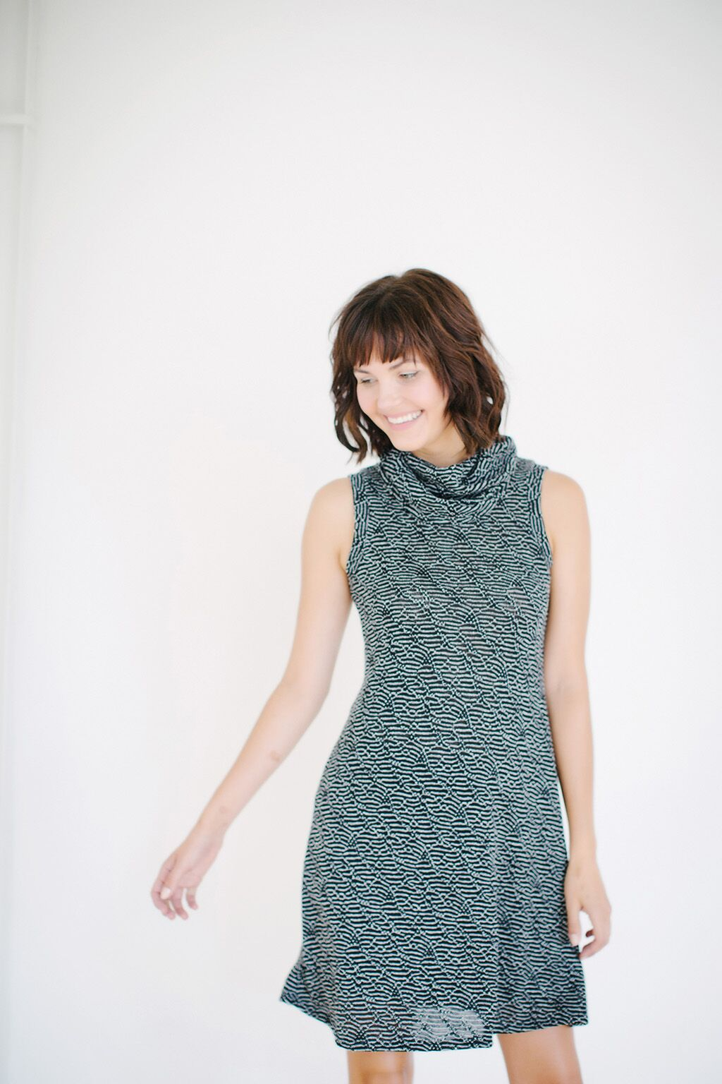 KOKOON Jojo Cowl Neck Dress in Black and White Rivulet Knit 2