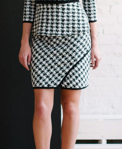 KOKOON Bees Knees Skirt in black and white check cropped