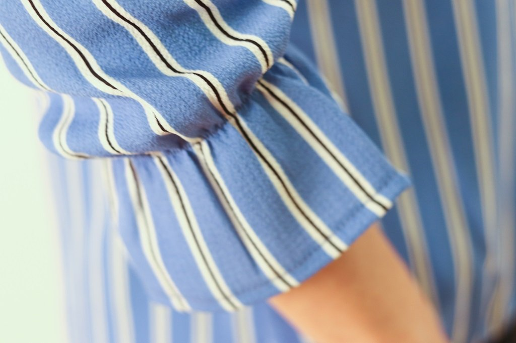KOKOON Blake Crossover Blouse in Blue Banker Stripe Sleeve Detail