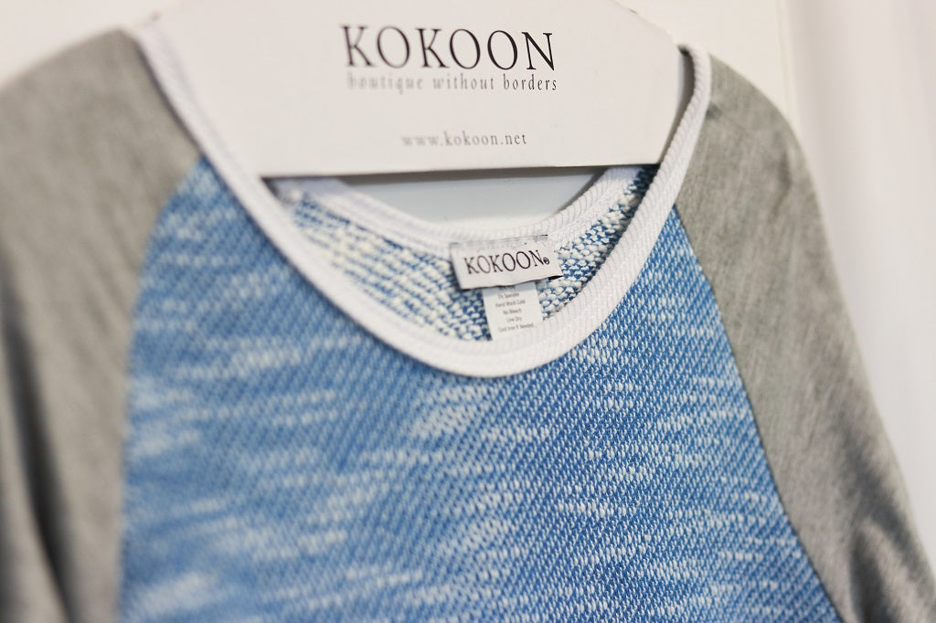 KOKOON bleacher Tee Blue Mix Detail