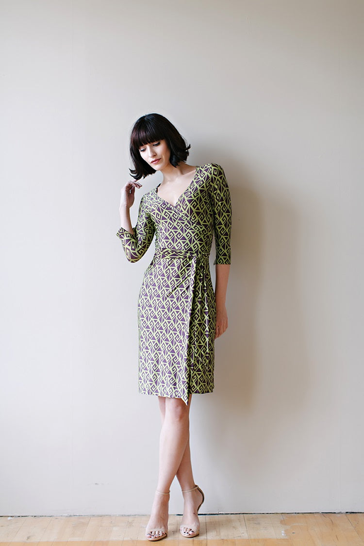 KOKOON Farrah Wrap Dress in Graple Print Front
