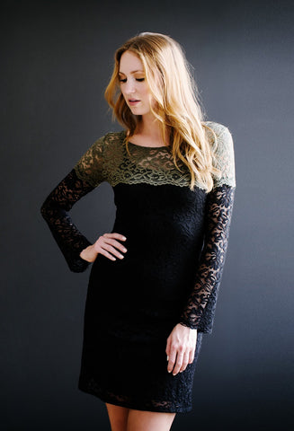 KOKOON St Genevieve Lace Dress in Olive and Black7
