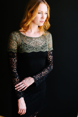 KOKOON St Genevieve Lace Dress in Olive and Black 2
