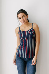 KOKOON Scoop Neck Cami Navy and Red Stripe Main