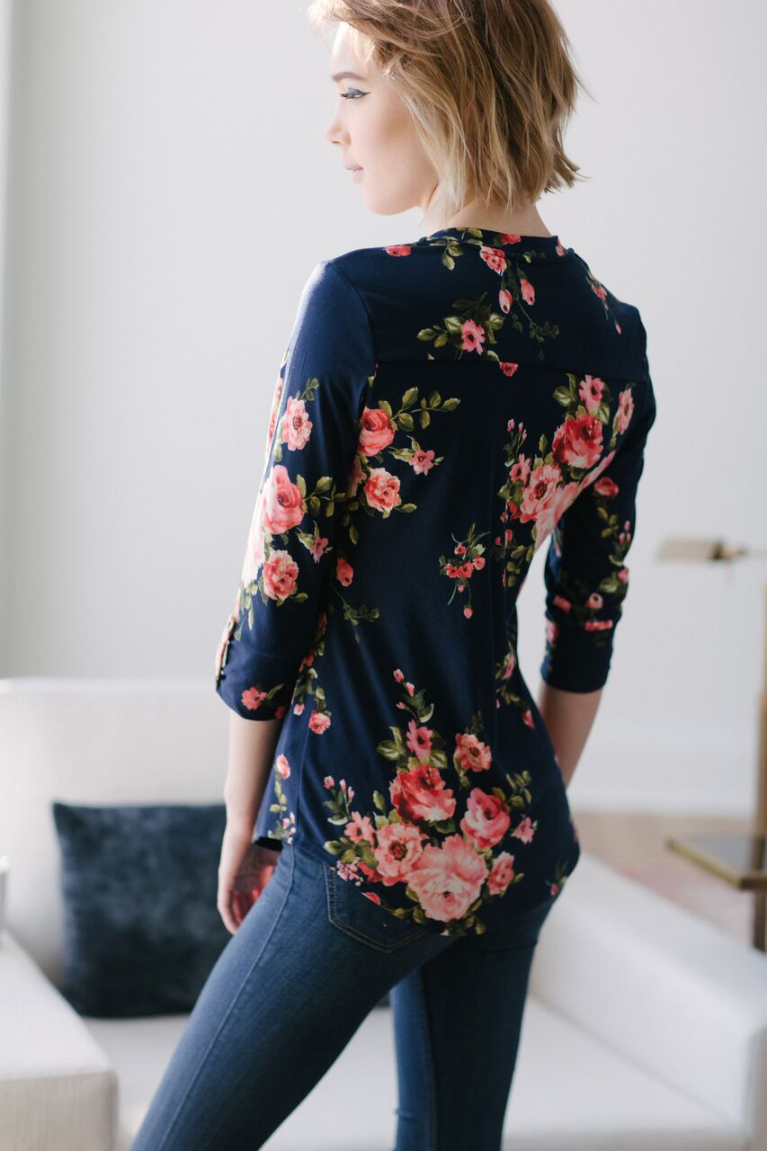 KOKOON Brookland Blouse True Blue Rose Back