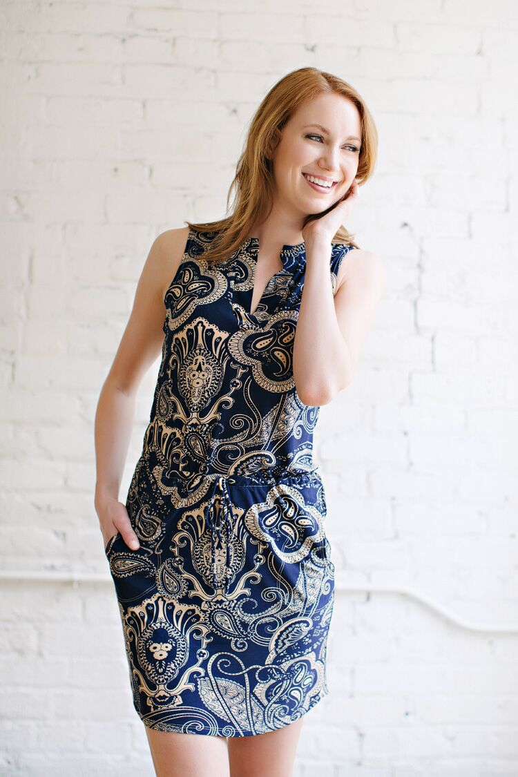 KOKOON Sleeveless Brookland Dress in Navy Sesame Swirl