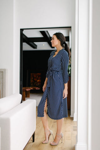 KOKOON A Star is Born Duster Dress in Navy White Polka Dot Side View