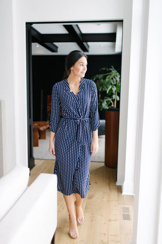 KOKOON A Star is Born Duster Dress in Navy White Polka Dot