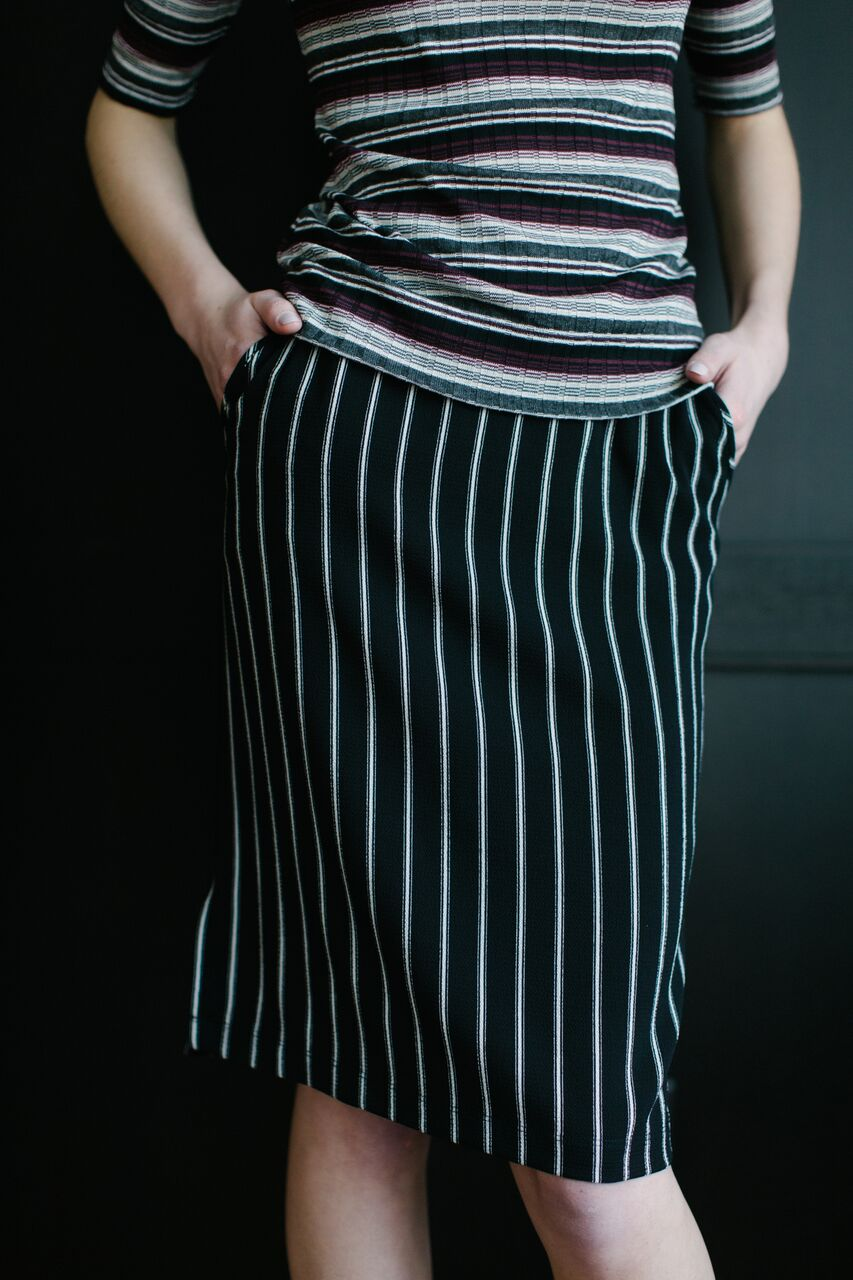 Calhoun Skirt Gangster Stripe Front2