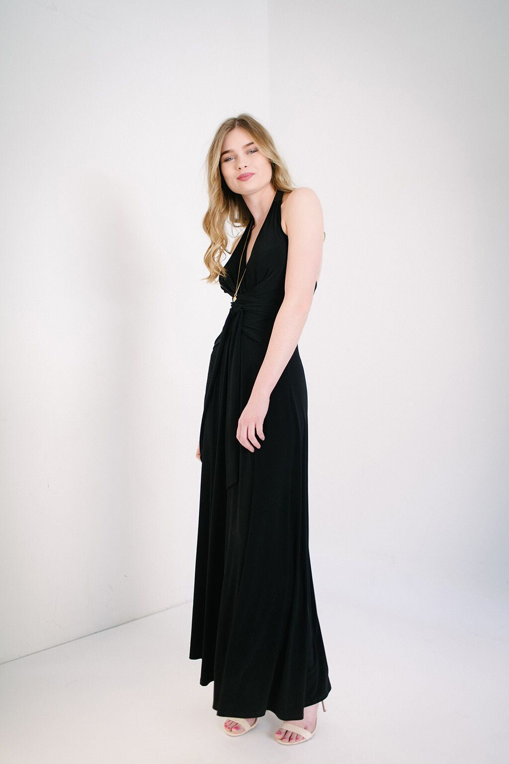 KOKOON Origami Halter Maxi Dress in Black Standing